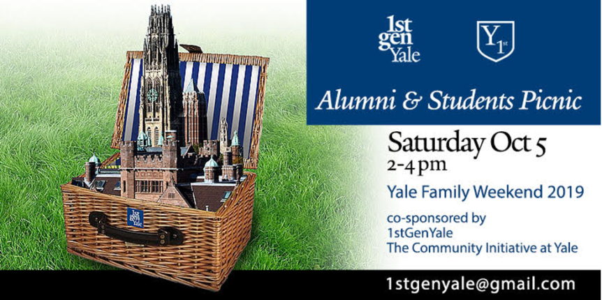 Invitation with text and image of picnic basket
