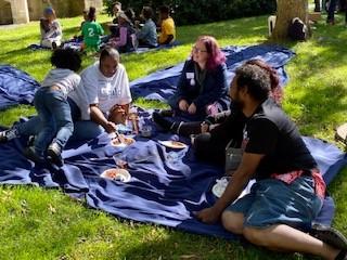 people eating at picnic