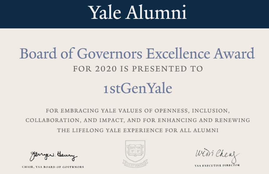Yale Board of Governors Excellence Awards